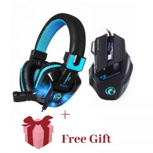7 BUTTONS 5500 DPI PROFESSIONAL GAMING MOUSE+HEAVY BASS GAMES LED LIGHT WITH FREE GIFT 2019
