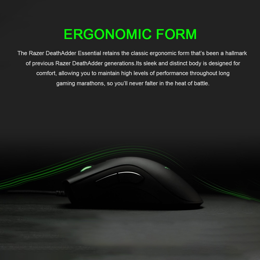 Razer DeathAdder Essential Wired Gaming Mouse Mice 6400DPI Optical Sensor 5  Independently Programmable Buttons Ergonomic Design